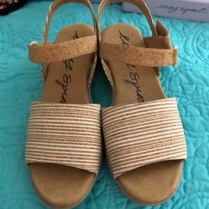 NIB Easy Spirit Brown stripe cork sandals sz 9.5